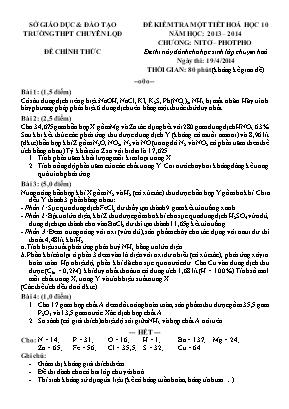 Đề kiểm tra một tiết môn Hóa Học lớp 10 - Chư