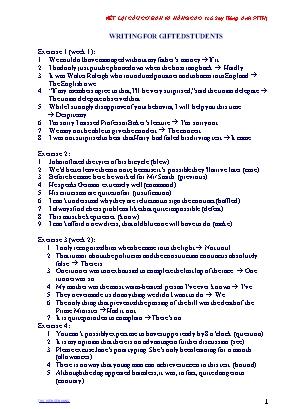 Bài tập môn Tiếng Anh Lớp 8 - Luyện viết lại