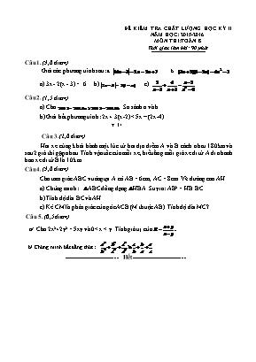 Đề kiểm tra chất lượng môn Toán Học Lớp 8 học