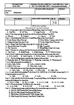 Đề kiểm tra giữa học kỳ II - Tổng hợp Lớp 9 -