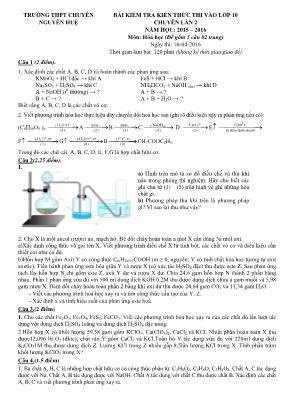 Đề kiểm tra môn Hóa Học - Bài kiểm tra kiến t