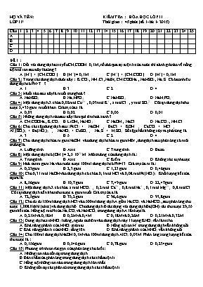 Đề kiểm tra môn Hóa Học Lớp 11 học kỳ I năm h