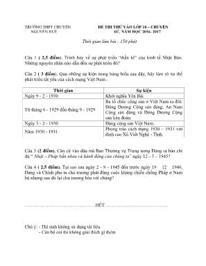 Đề kiểm tra môn Lịch Sử - Bài thi thử vào Lớp