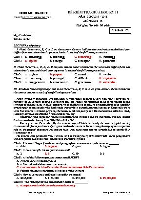 Đề kiểm tra môn Tiếng Anh Lớp 12 - Học kỳ II