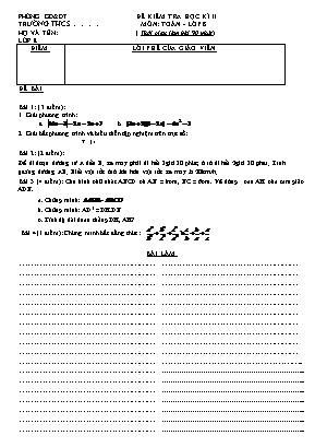 Đề kiểm tra môn Toán Học Lớp 8 học kỳ II năm