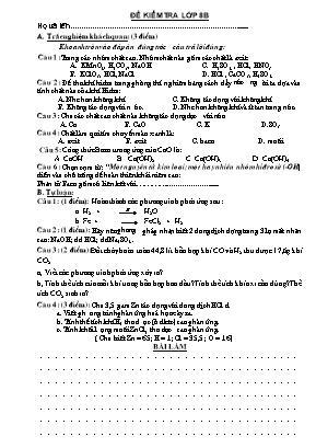 Đề kiểm tra một tiết môn Hóa Học Lớp 8