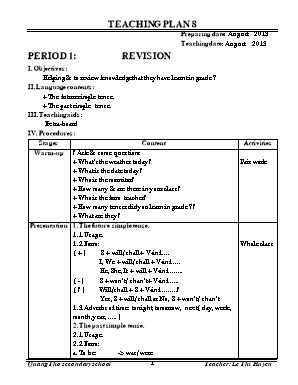 Giáo án bổ trợ môn Tiếng Anh Lớp 8 - Lê Thị H
