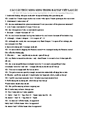 Tài liệu môn Tiếng Anh Lớp 12 - Các cấu trúc