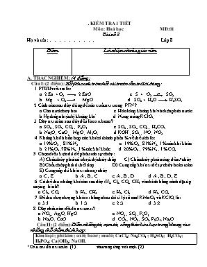 Bài kiểm tra một tiết môn Hóa Học Lớp 8 - Năm