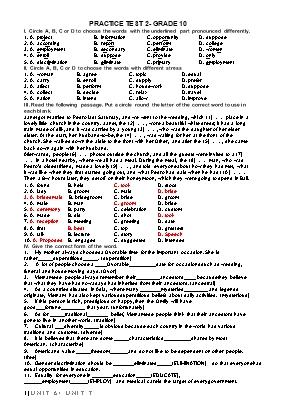 Bài kiểm tra thực hành số 2 môn Tiếng Anh Lớp