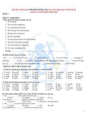 Bài tập môn Tiếng Anh Lớp 5 - Năm học 2015-20