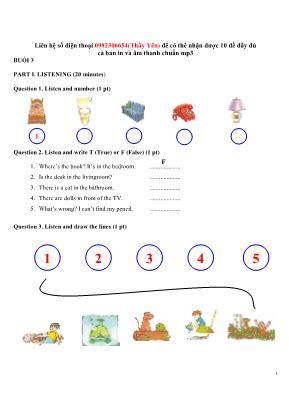 Bài tập ôn tập môn Tiếng Anh Lớp 5 - Năm học