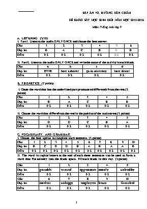 Đáp án môn Tiếng Anh Lớp 7 - Đề khảo sát học