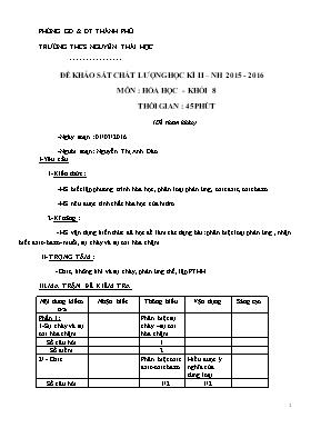 Đề khảo sát chất lượng môn Hóa Học Khối 8 - H