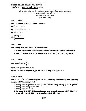 Đề khảo sát chất lượng môn Toán Học Khối 9 -