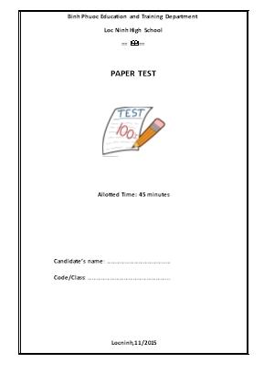 Đề kiểm tra lần 1 môn Tiếng Anh Lớp 11 - Năm