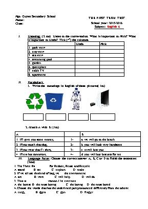 Đề kiểm tra môn Tiếng Anh Lớp 6 - Học kỳ I nă