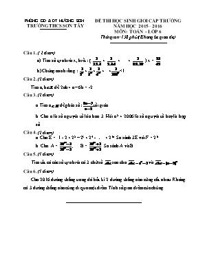 Đê kiểm tra môn Toán Học Lớp 6 - Thi chọn học