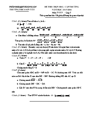 Đê kiểm tra môn Toán Học Lớp 7 - Thi chọn học
