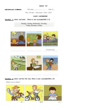 Đề kiểm tra một tiết môn Tiếng Anh Lớp 6 - Nă