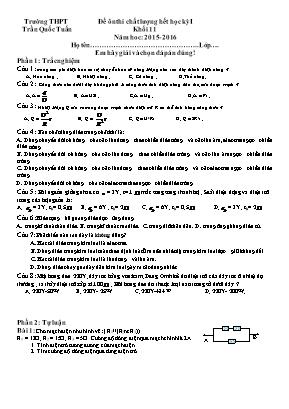 Đề ôn thi chất lượng môn Vật Lý Khối 11 - Học