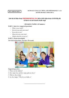 Tổng hợp bài tập luyện nói môn Tiếng Anh Lớp