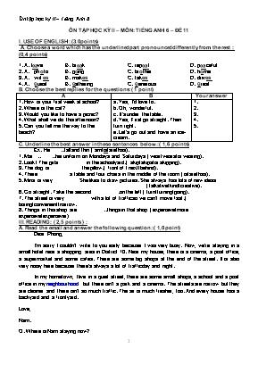 Tổng hợp đề ôn tập học kỳ II môn Tiếng Anh Lớ