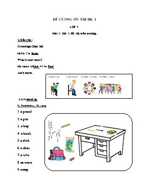 Đề cương ôn thi học kì I môn Tiếng Anh Lớp 3