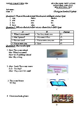 Đề kiểm định chất lượng môn Tiếng Anh Lớp 3 -