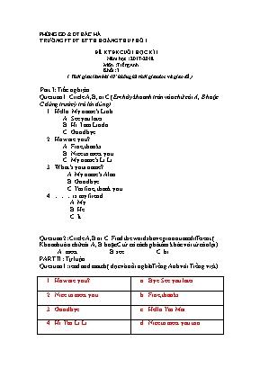 Đề kiểm tra định kỳ cuối học kì I môn Tiếng A