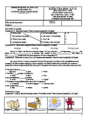 Đề kiểm tra học kì II môn Tiếng Anh Lớp 3 - B