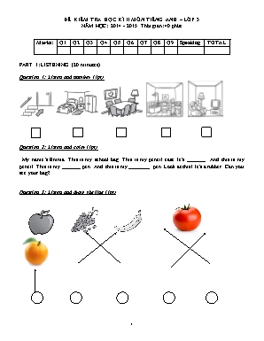 Đề kiểm tra học kì II môn Tiếng Anh Lớp 3 - N