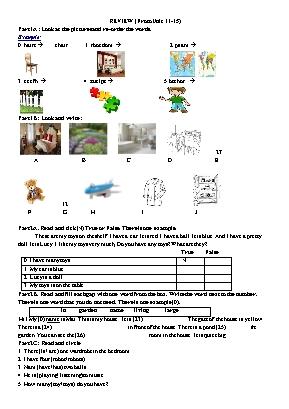 Ôn tập giữa học kì II môn Tiếng Anh Lớp 3 - U